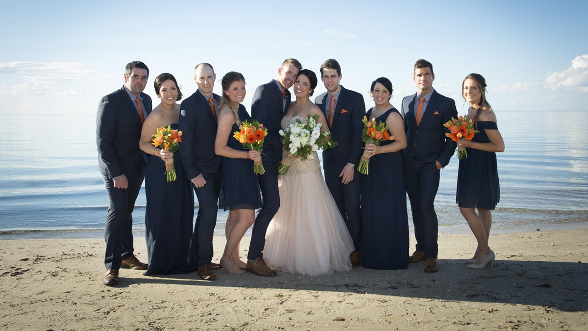 bridal party wedding photo at Sorrento Beach