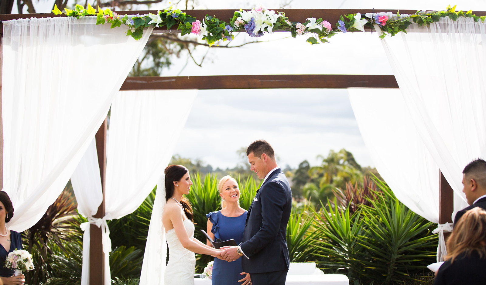 celebrant clarah luxford conducts a wedding ceremony